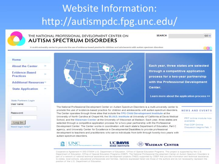 Website Information: http://autismpdc.fpg.unc.edu/