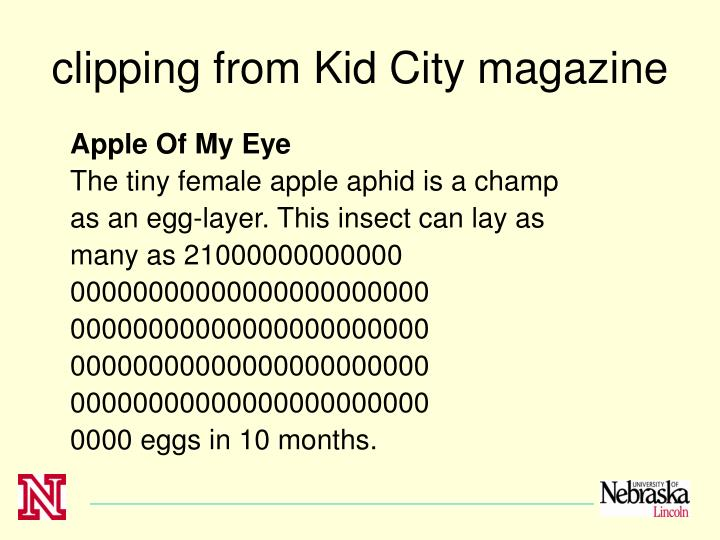 clipping from Kid City magazine