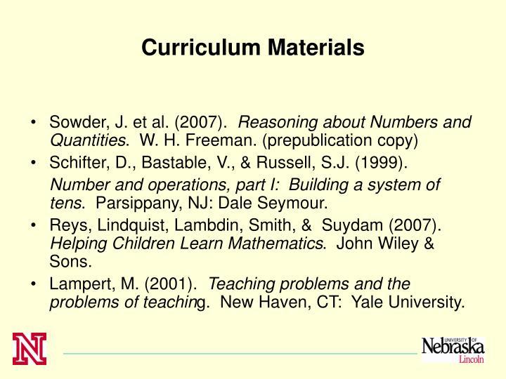 Curriculum Materials