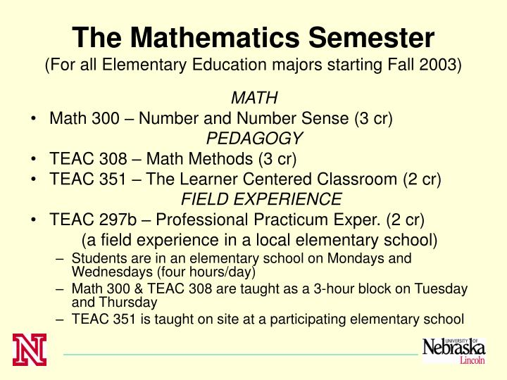 The Mathematics Semester