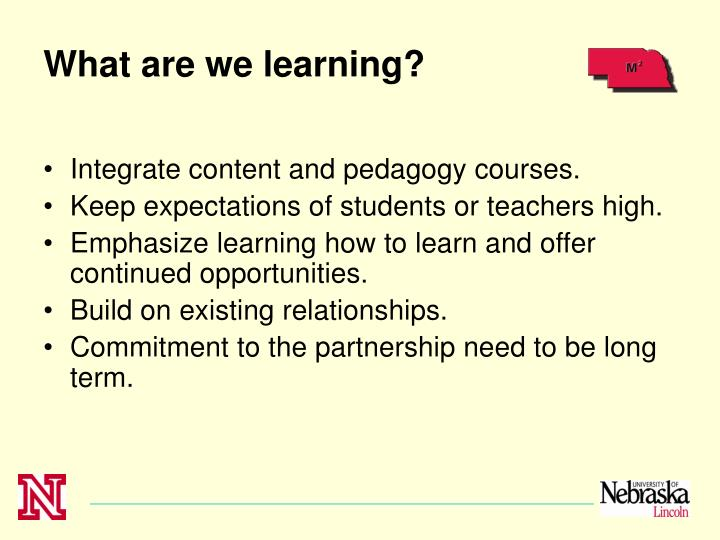 What are we learning?