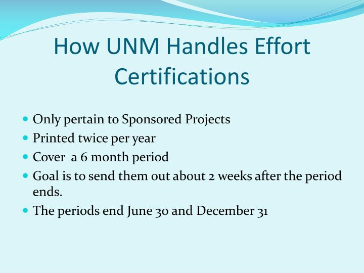 How UNM Handles Effort Certifications