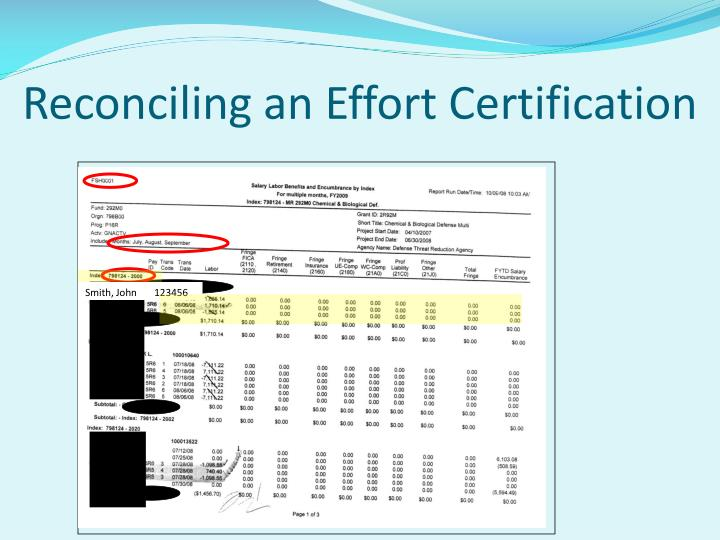 Reconciling an Effort Certification