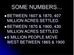 some numbers