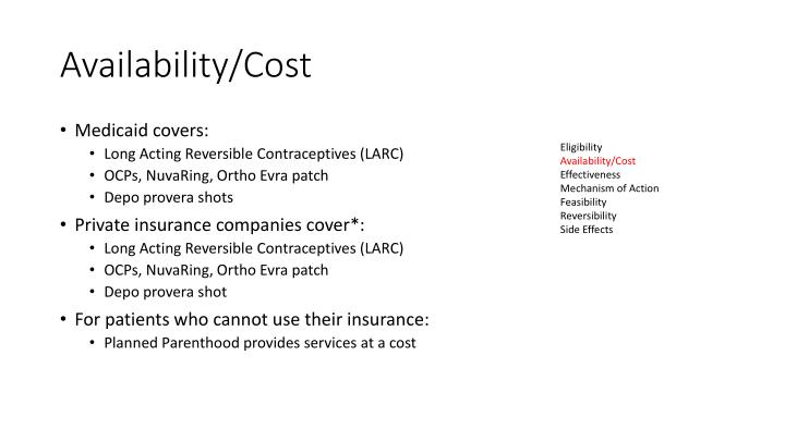 Availability/Cost