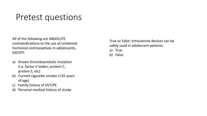 Pretest questions