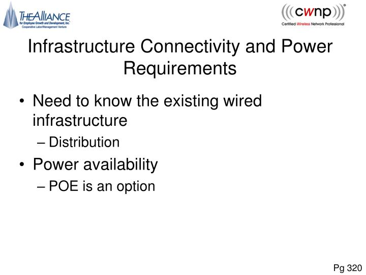Infrastructure Connectivity and Power Requirements