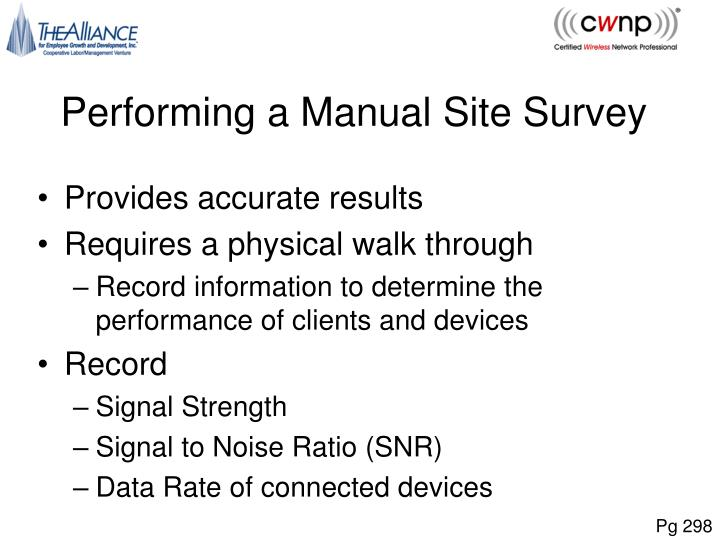 Performing a Manual Site Survey