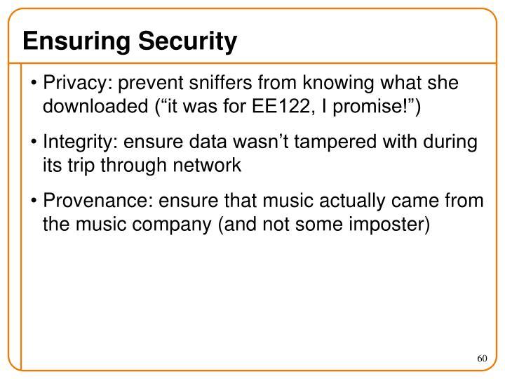 Ensuring Security