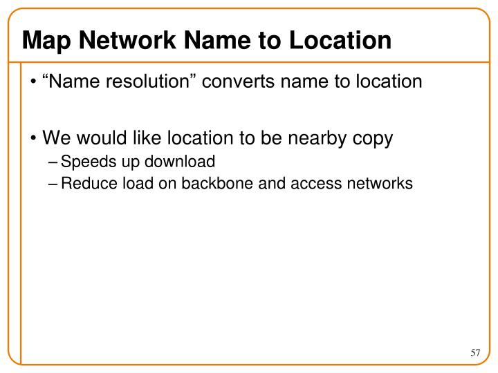 Map Network Name to Location