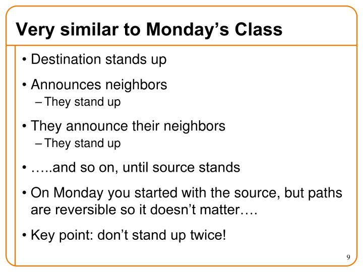 Very similar to Monday's Class