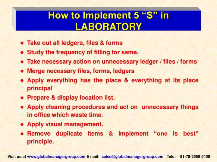 "How to Implement 5 ""S"" in LABORATORY"