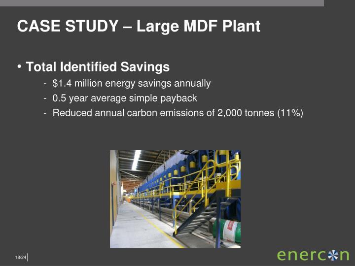 CASE STUDY – Large MDF Plant