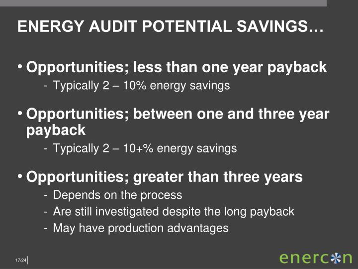 ENERGY AUDIT POTENTIAL SAVINGS…