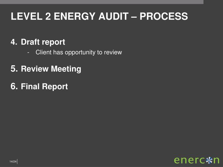 LEVEL 2 ENERGY AUDIT – PROCESS