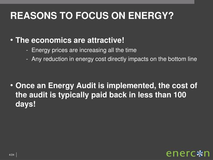 REASONS TO FOCUS ON ENERGY?