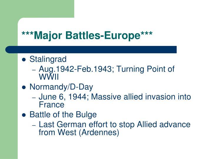 ***Major Battles-Europe***