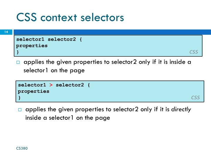 CSS context selectors