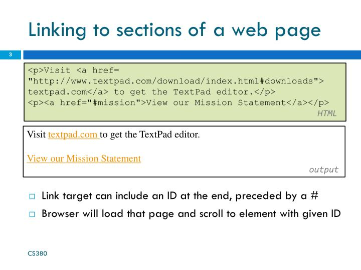 Linking to sections of a web page
