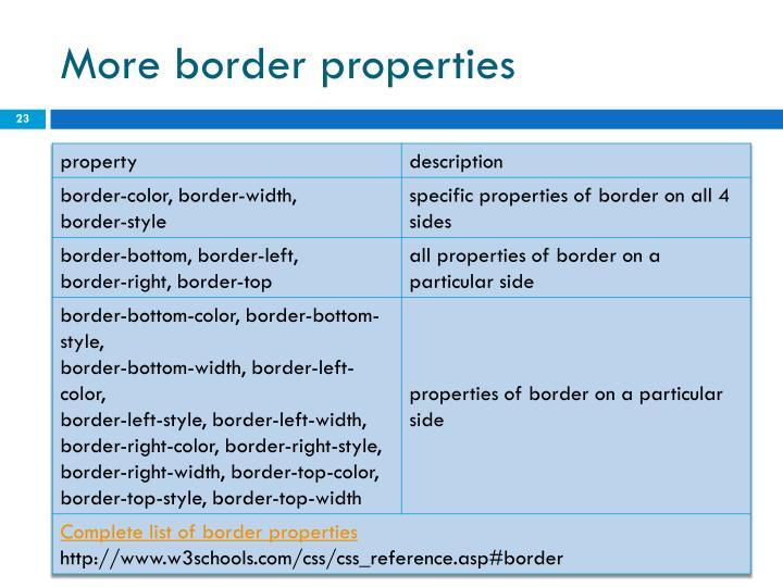 More border properties