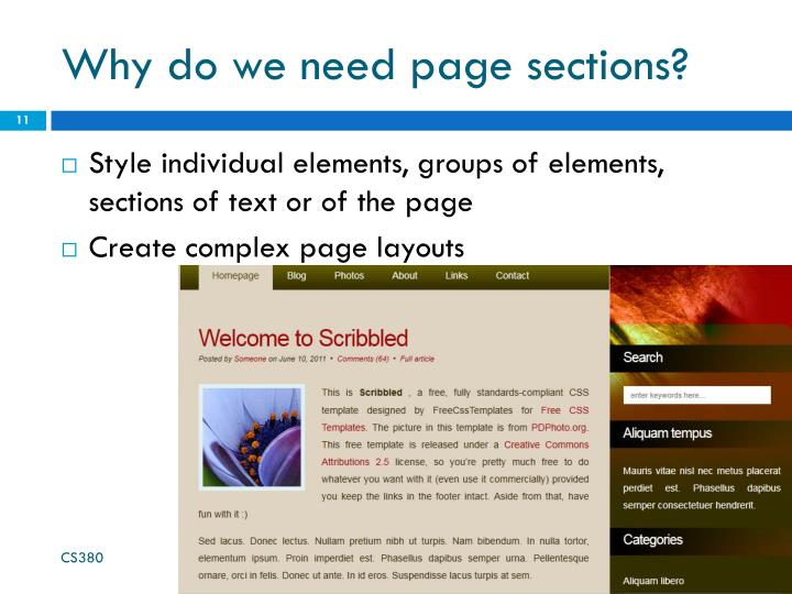 Why do we need page sections?