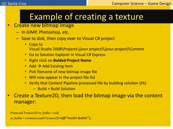 Example of creating a texture
