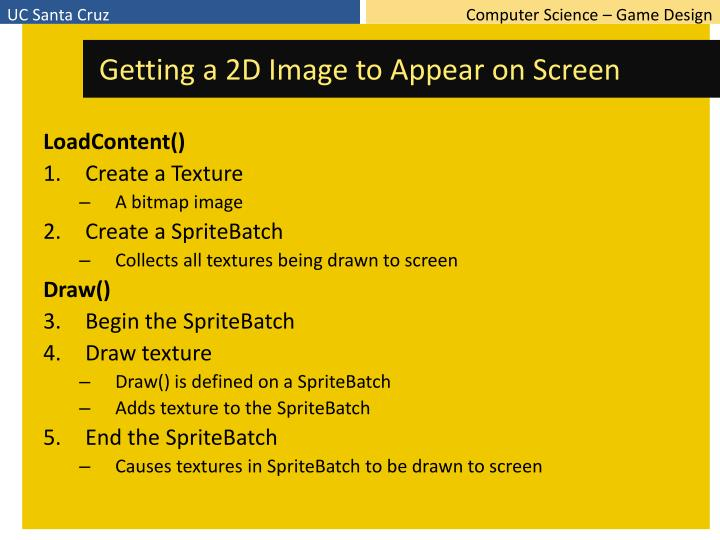Getting a 2D Image to Appear on Screen