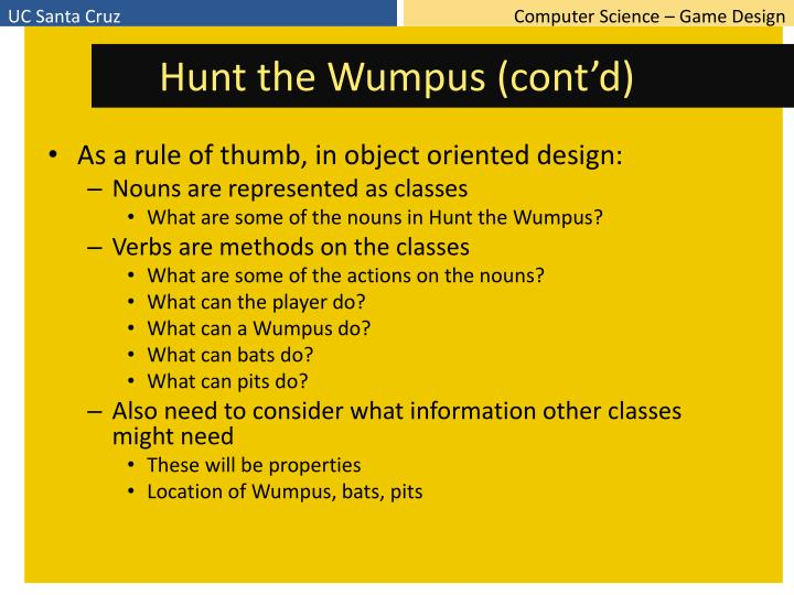 Hunt the Wumpus (cont'd)