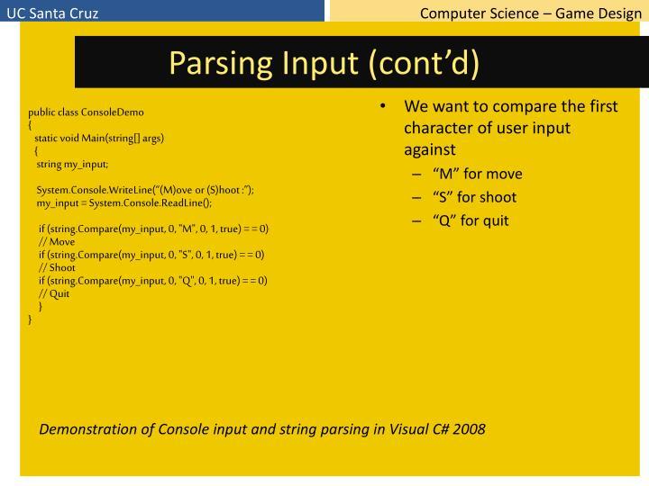 Parsing Input (cont'd)