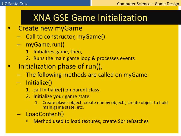 XNA GSE Game Initialization