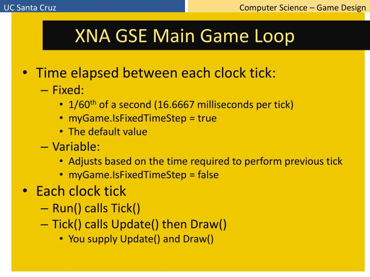 XNA GSE Main Game Loop
