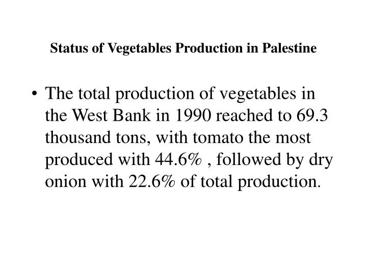 Status of Vegetables Production in Palestine