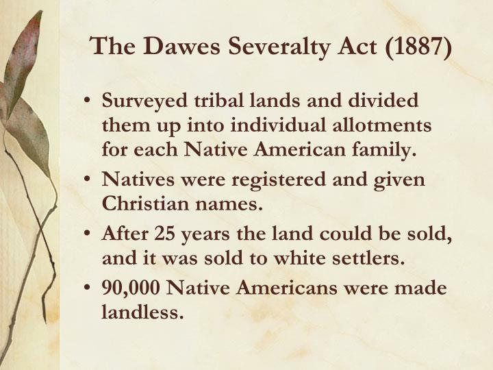 The Dawes Severalty Act (1887)