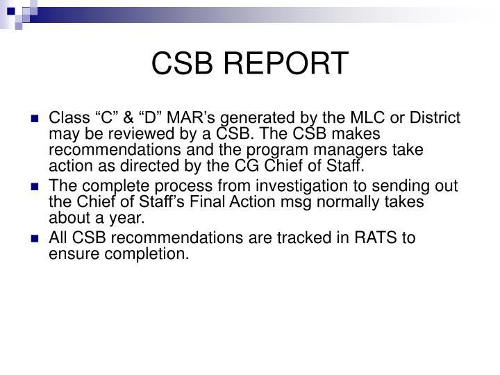 CSB REPORT