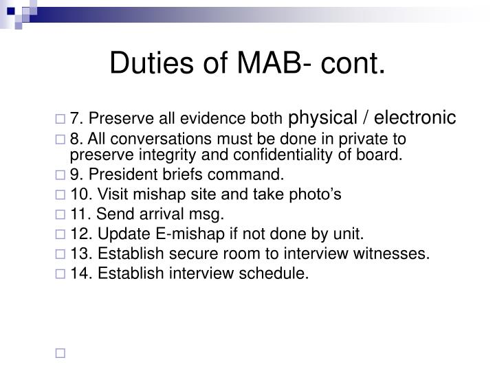 Duties of MAB- cont.