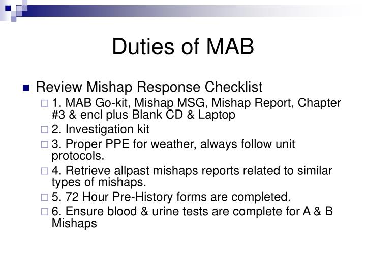 Duties of MAB