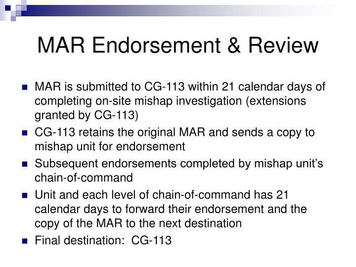 MAR Endorsement & Review
