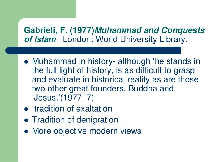 Gabrieli f 1977 muhammad and conquests of islam london world university library