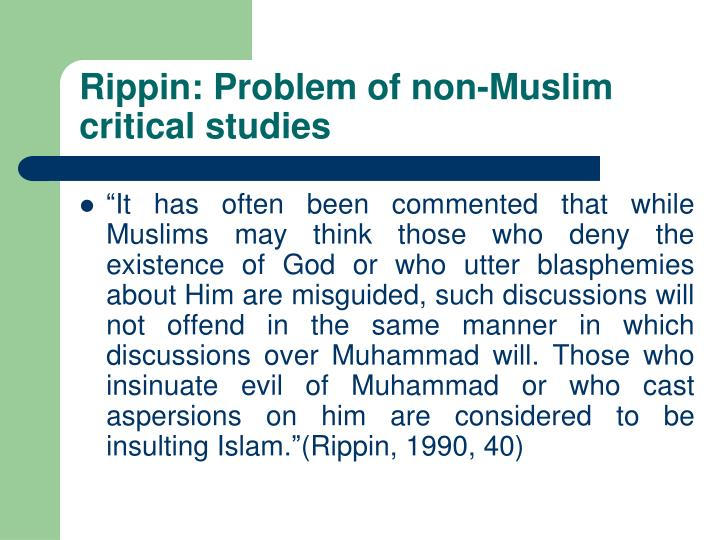 Rippin: Problem of non-Muslim critical studies