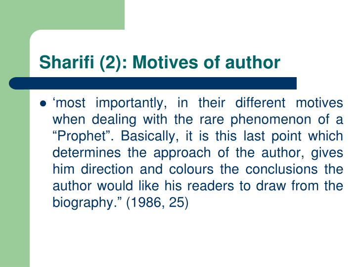 Sharifi (2): Motives of author