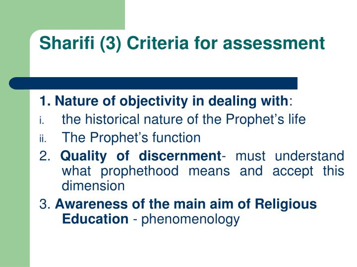 Sharifi (3) Criteria for assessment