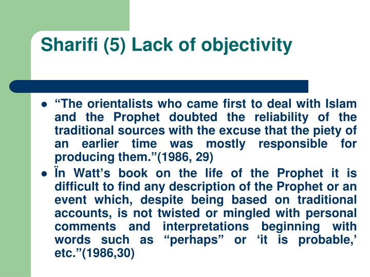 Sharifi (5) Lack of objectivity