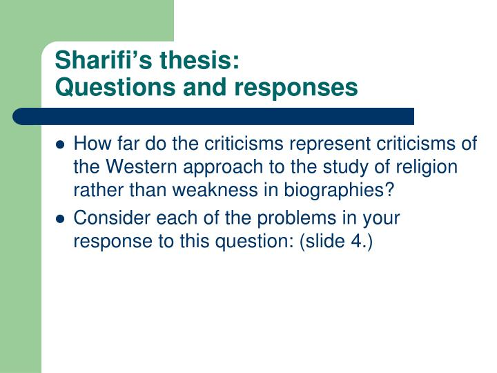 Sharifi's thesis: