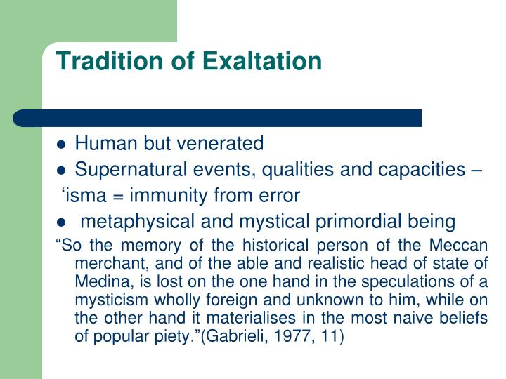 Tradition of Exaltation