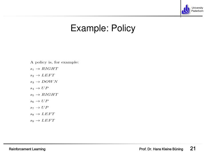 Example: Policy