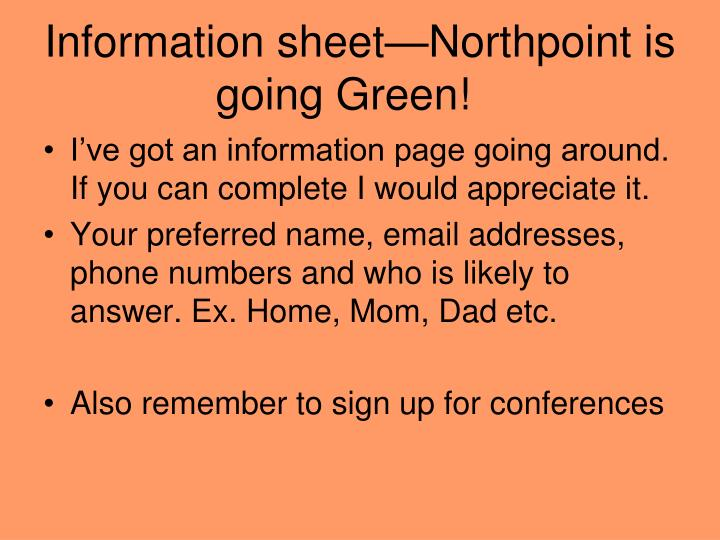 Information sheet northpoint is going green