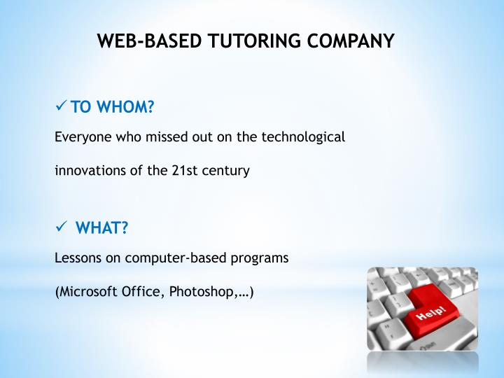WEB-BASED TUTORING COMPANY