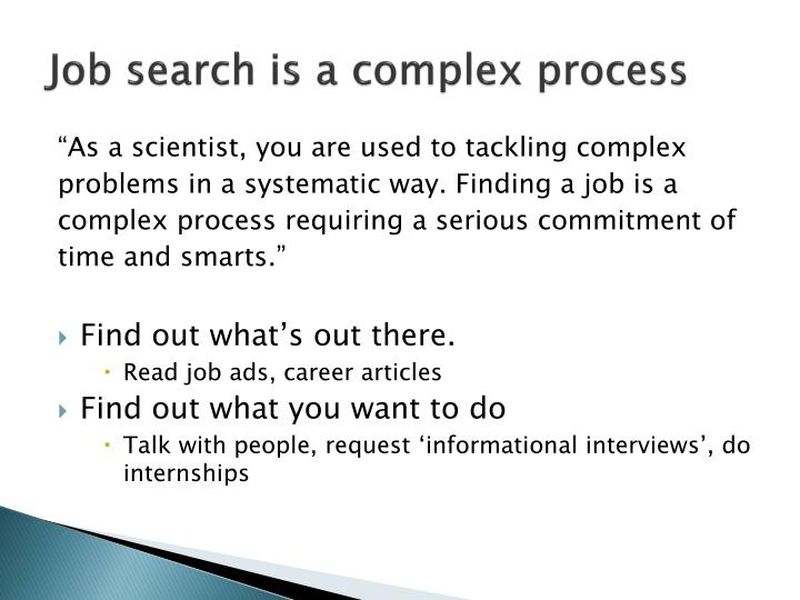 Job search is a complex process