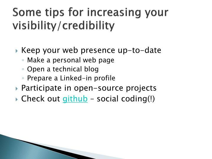 Some tips for increasing your visibility/credibility
