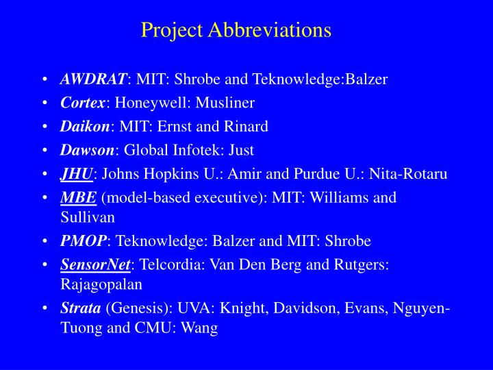 Project Abbreviations